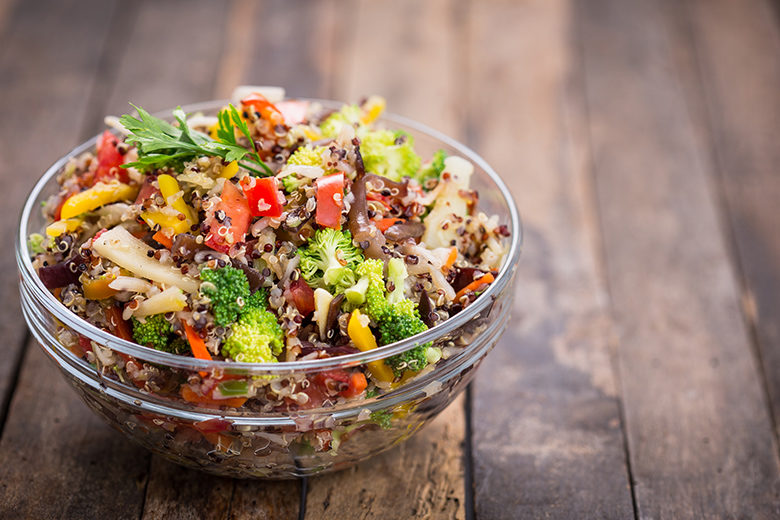 Fresh quinoa salad in the bowl
