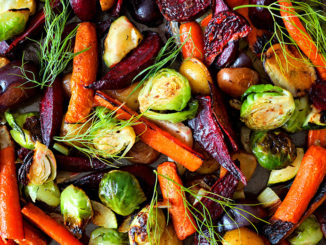 Full background of roasted autumn vegetables