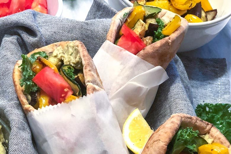 Roasted Veggie Pita Wraps with Pesto Hummus   Food & Nutrition   Stone Soup