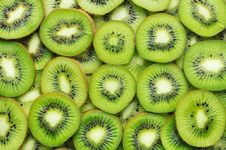 sliced kiwi as textured background