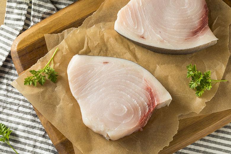 Raw Organic Swordfish Steak Filets Ready to Cook