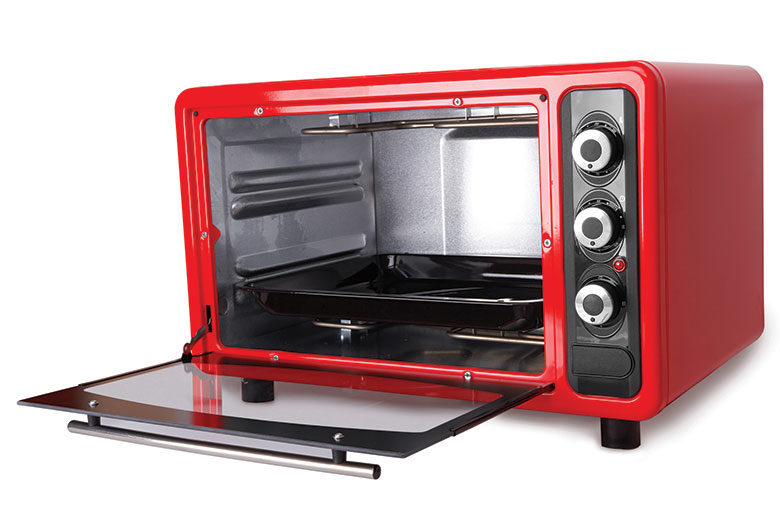 Red toaster oven with lid open