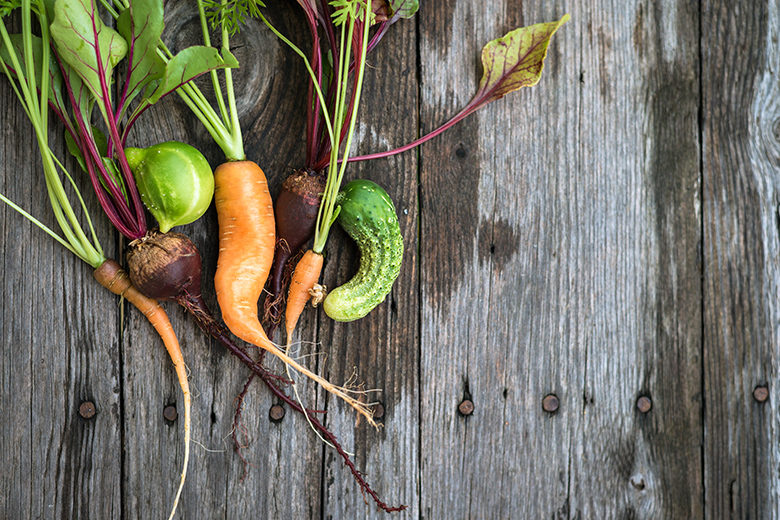 Ugly carrot, beetroot and cucumber