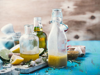 Vinaigrette and ingredients, salad dressing with oil, vinegar and mustard